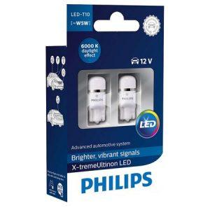 Set 2 Becuri auto auxiliare cu LED Philips X-TremeUltinon W5W, 12V, 1W, 6000K