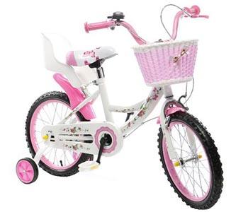 Bicicleta Copii cu Pedale Mappy, Roz, Roti Ajutatoare, Cosulet si Scaun Pentru Papusa