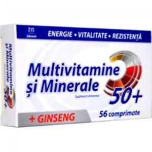 Multivitamine si Minerale 50+ cu Ginseng 56 Comprimate Zdrovit