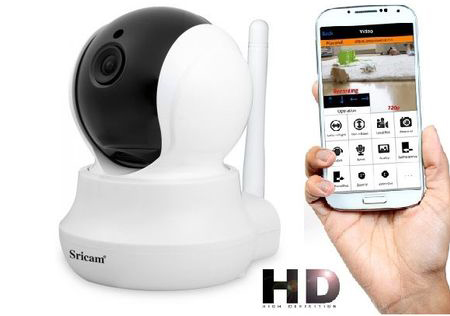 Set Camera de Supraveghere IP WIFI Sricam, FullHD 2MP, Conectare Telefon