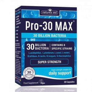 Complex Probiotice Pro-30 Max Natures Aid cu 30 de Miliarde de Bacterii Benefice