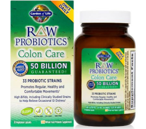 Probiotice RAW Colon Care 50 Miliarde CFU, Garden of Life, 30 Capsule Vegetariene