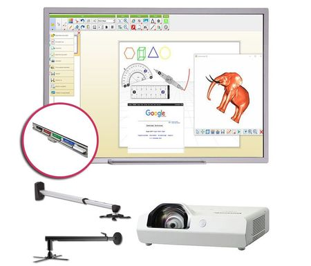 Pachet Interactiv EDU Basic PREMIUM Panasonic ST 83 210 cm - Contine Tabla Interactiva + Videoproiector + Pentray + Accesorii + Software Lb. Romana si Suprafata Pentru Markere