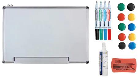 Pachet Tabla Alba Magnetica, 60x90 cm si Accesorii Markere, Burete, Magneti, Spray Curatare