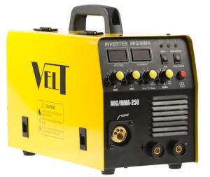 Invertor de Sudura Profesional Velt MIGMMA 250, 250 A, 230 V, Diamentru sarma 06-1.2 mm, 19 kg, Accesorii Incluse