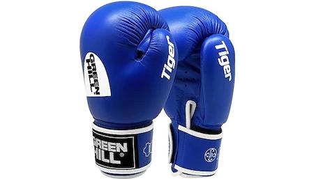 Manusi de box Green Hill Tiger, Aprobate AIBA, Albastru, Piele Naturala, 12 oz
